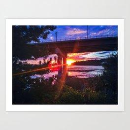 Casco Bay Bridge Sunburst Art Print
