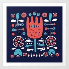 Folksy - Midnight blue Art Print