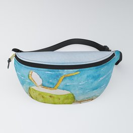 Coconut water on beach watercolor art Fanny Pack