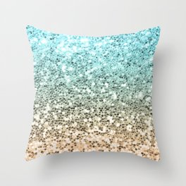 Ombre Mermaid Sparkly Glitters Colorful Blue Gold Cute Girly Throw Pillow