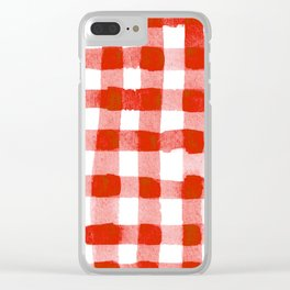Handpainted Classic Gingham Pattern Tomato Red Clear iPhone Case