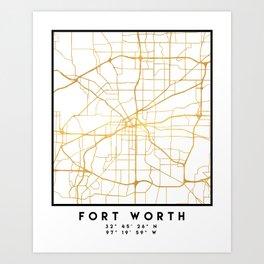FORT WORTH CITY STREET MAP ART Art Print