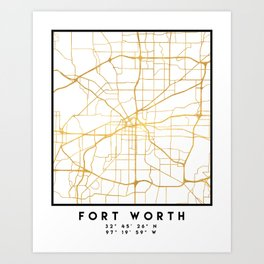 FORT WORTH CITY STREET MAP ART Art Print