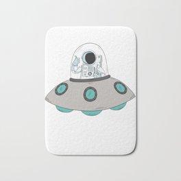 Cool Astronaut On Spaceship UFO Alien Science Fiction Bath Mat