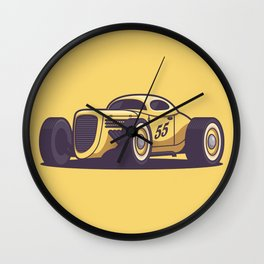 GAZ GL1 Custom Vintage Hot Rod Classic Street Racer Car - Yellow Wall Clock