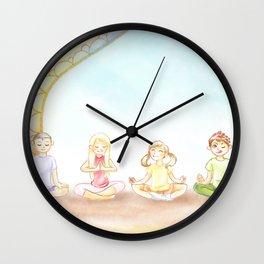 Children Meditation Wall Clock