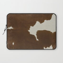 Dark Brown & White Cow Hide Laptop Sleeve
