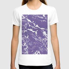 Modern trendy purple ultra violet  white marble  pattern T-shirt