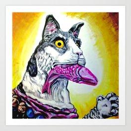 Coney Island Carnival Carousel Cat  Art Print