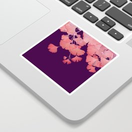 Coral Ginkgo Biloba Leaves Sticker