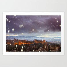 Snowstorm over the Alhambra Palace. Granada at sunset Art Print