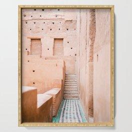 Colors of Marrakech Morocco - El badi palace photo print | Pastel travel photography art Serving Tray
