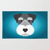 schnauzer Area & Throw Rugs featuring Miniature Schnauzer  by Three Black Dots