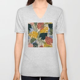 Tropical Leaf Pattern in Mustard, Red and Green Unisex V-Neck