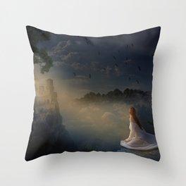 Girl on a cliff Throw Pillow
