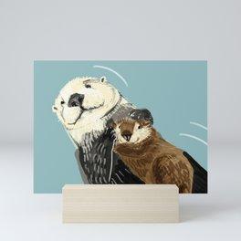 Otters of the World pattern in grey Mini Art Print