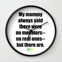 ripley Wall Clocks featuring ALIEN Movie, Ellen Ripley, Sigourney Weaver, Newt Quote by FountainheadLtd
