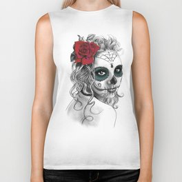 Catrina with red rose Biker Tank
