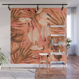 TROPICAL FERNS AND FLOWERS IN SHADES OF coral peach and burnt orange Wall Mural