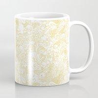 zodiac Mugs featuring White Zodiac by Nina Y