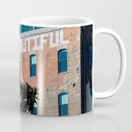 """You Are Beautiful"" Graffiti on Brick Building Coffee Mug"