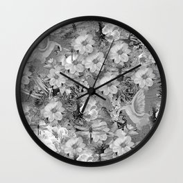 PARROTS MAGNOLIAS ROSES AND HYDRANGEAS TOILE PATTERN IN GRAY AND WHITE Wall Clock