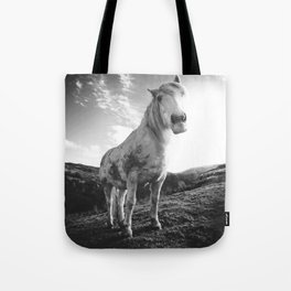 Horse (Black and White) Tote Bag
