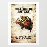 full metal alchemist Art Prints featuring Full metal artist by HappyMelvin