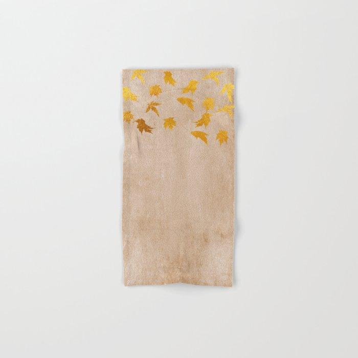 Gold leaves on grunge background - Autumn Sparkle Glitter design #Society6 Hand & Bath Towel