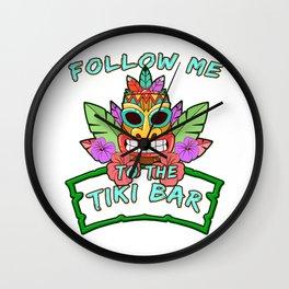 Follow Me To Tiki Gift Design Hawaiian Island Vacation Print Wall Clock
