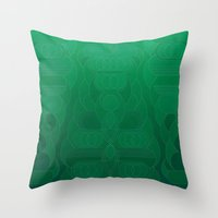 Throw Pillows featuring Round and About Emerald by Hohum Design Studio