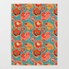 Turquoise California Poppies Poster