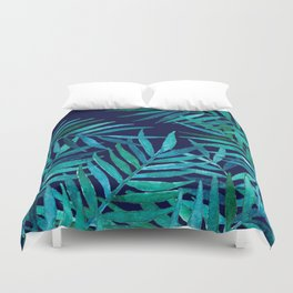 Watercolor Palm Leaves on Navy Duvet Cover