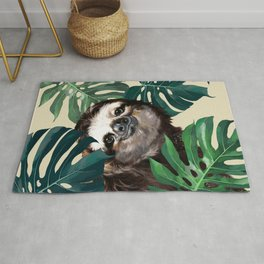 Sneaky Sloth with Monstera Rug