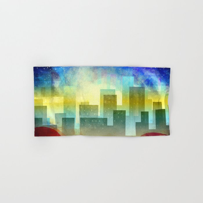 Colorful night digital illustration II. Hand & Bath Towel