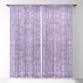 Purple and faux silver swirls doodles Sheer Curtain