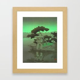 Kawase Hasui Vintage Japanese Woodblock Print Glowing Green Neon Sky Over A Zen Garden Shrine Framed Art Print