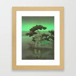 Kawase Hasui Vintage Japanese Woodblock Print Glowing Green Neon Sky Over A Zen Garden Shrine Framed Art Print