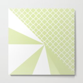 Geometric green white quatrefoil color block pattern Metal Print