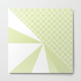 Geometric green white quatrefoil color block pattern Metal Print