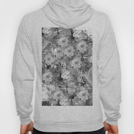 PARROTS MAGNOLIAS ROSES AND HYDRANGEAS TOILE PATTERN IN GRAY AND WHITE Hoody
