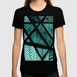 Geometric doodle pattern - turquoise and black T-shirt