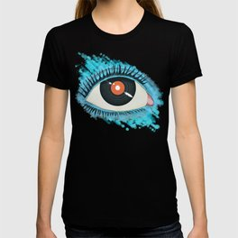Musical vision: eye illustration with vinyl record for pupil T-shirt