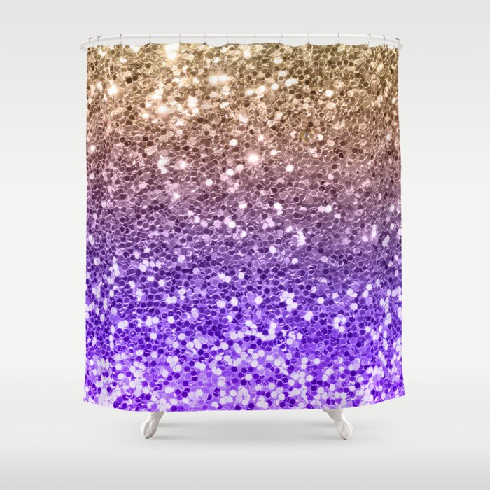 Luxury Modern Violet Lilac Faux Gold Sequins Glitter Shower Curtain