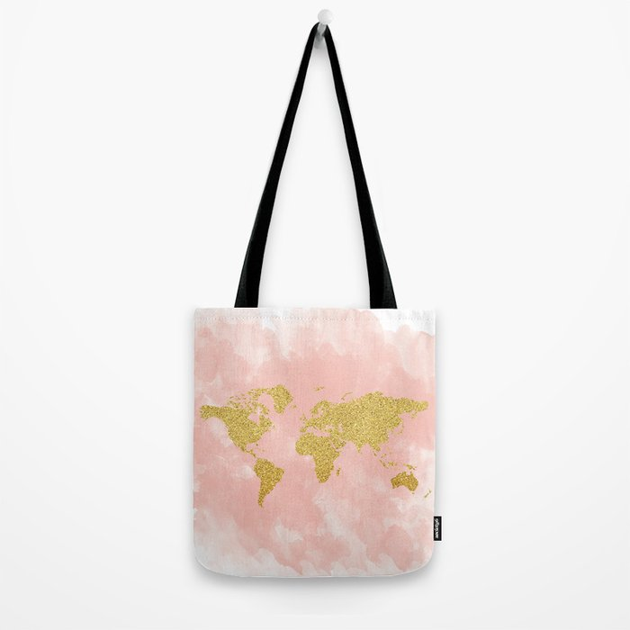 Gold Glitter Map, Nursery Art, Pink Gold, Pastels Tote Bag