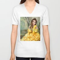 belle V-neck T-shirts featuring Belle by MartaDeWinter