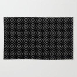 Persimmon Hitomezashi Sashiko - White on Black Rug