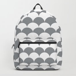 Grey Clamshell Pattern Backpack
