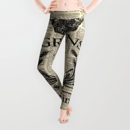 dictionary print rustic shabby french country wheat wreath Leggings