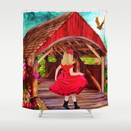 Covered Bridge Painting by Liane Wright Shower Curtain